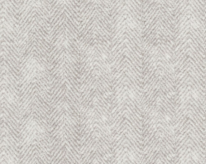 Maywood Woolies Light Grey Gray Herringbone MASF-1841-K Flannel Fabric BTY