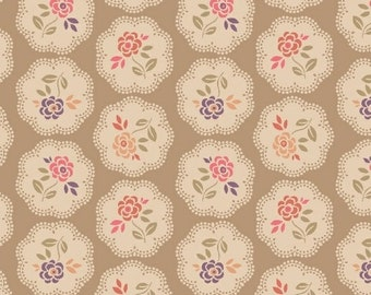 Marcus Nancy Rink On Plumberry Lane Tan Purple Pink Circle Floral Fabric 2273-0113 BTY