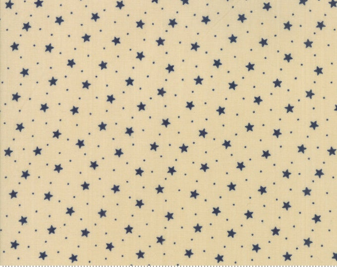 Moda Star and Stripe Gatherings Tan with Blue Star Dot Fabric 1262-14 BTY