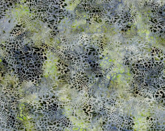Kaufman Mckenna Ryan Tiger Fish Pebbles Pebble Blue Green Stone Batik Fabric 15742-155 BTY