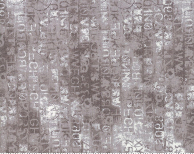 Moda Basic Grey METROPOLIS Cipher Primer Grey White Writing  30566-12 Fabric BTY