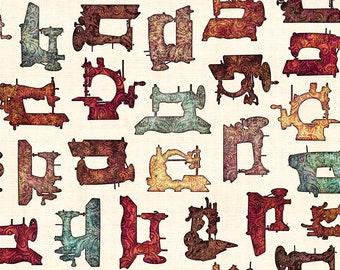 Quilting Treasures Seamless Dan Morris Sewing Machine Motif Quilter White Ecru Fabric BTY 26581-E
