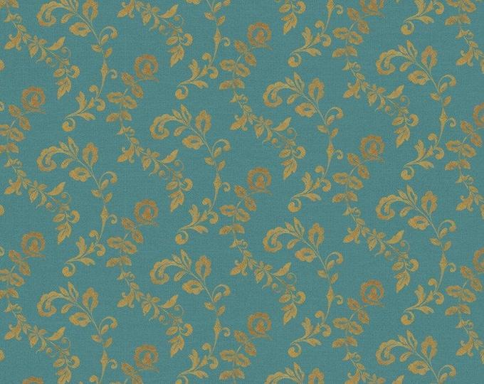 Wild Apple WA-4194-6C Mumbai Scroll Turq/Gold fabric BTY