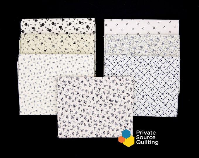 Windham Shirtings White Cream Beige Light Civil War Reproduction Fabric 7 Fat Quarter Bundle