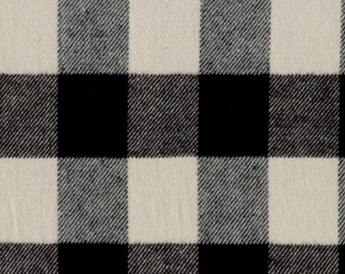 Marcus Primo Plaids Flannel Classic Tartans Cream Black Buffalo Plaid Fabric J372-0112 BTY
