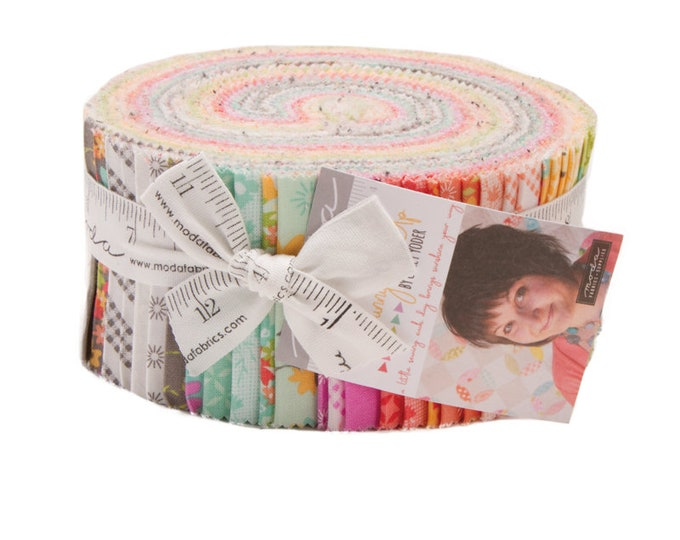 Moda Sunnyside Up Corey Yoder Bright Floral Pink Blue Green Jelly Roll 2.5 Fabric Strips