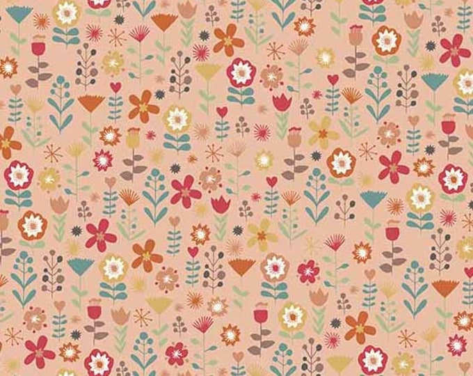 Andover Elli Ellie the Elephant Pink Coral Floral Flower Fabric 2067-P BTY