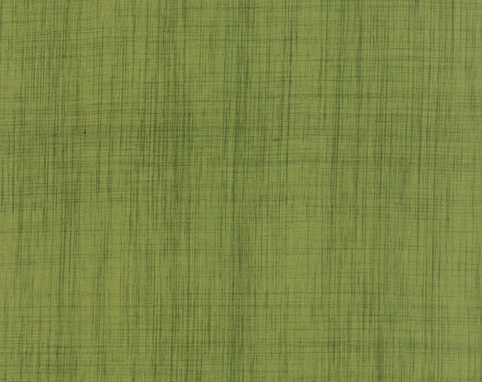 Moda Olive Green Cross Weave Woven Burlap Look Cotton Fabric 12120-71 BTY