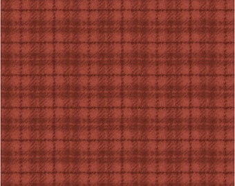 Maywood Woolies Red Orange Rust Plaid FLANNEL Fabric 18502-RO BTY