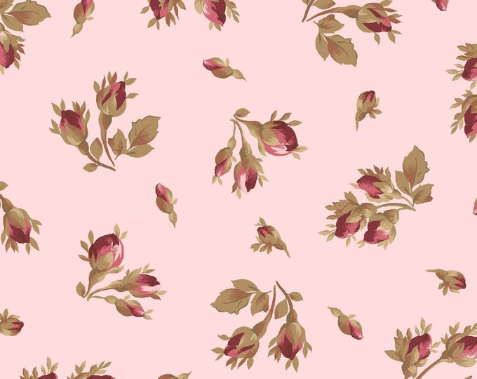 Maywood Fabric MAS9362-P Burgundy & Blush Tossed Rose Buds FLOWERS BTY