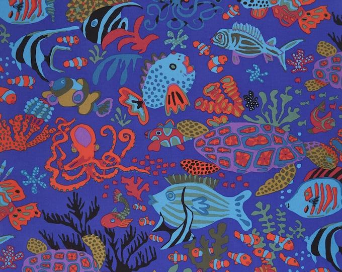 NEW Free Spirit Kaffe Fassett Spring 2018 Jolly Scuba Blue Ocean Fish Seahorse Fabric PWBM064 BTY