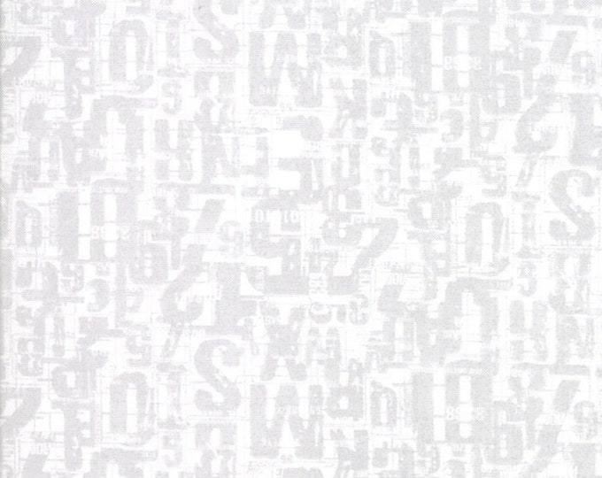 Moda Compositions Number Jumble Gray Grey White Writing Background Fabric 30453-12 BTHY