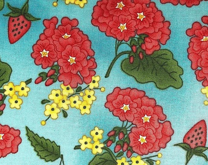 Maywood Fabric Back Porch Celebration FL-79 Flower pink blue  BTY