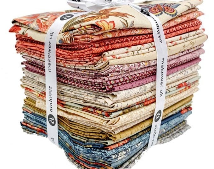 NEW Andover Edyta Sitar Laundry Basket Quilts LBQ Bed of Roses Cream Pink Red 32 Fat Quarter Bundle Fabric