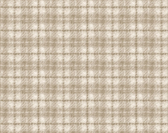 Maywood Woolies Cream Tan Ecru Plaid FLANNEL Fabric MASF-18502-E BTHY