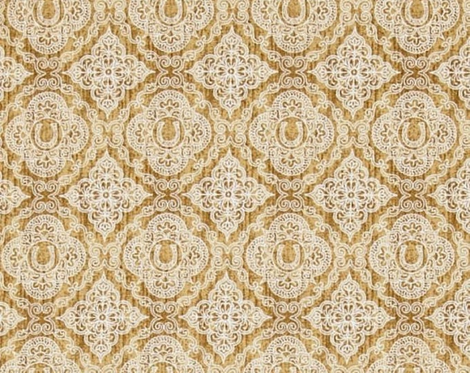 Quilting Treasures Cream Tan Unbridled Horses Western Horseshoe Medallion Country Horse Fabric BTY 24696-AE