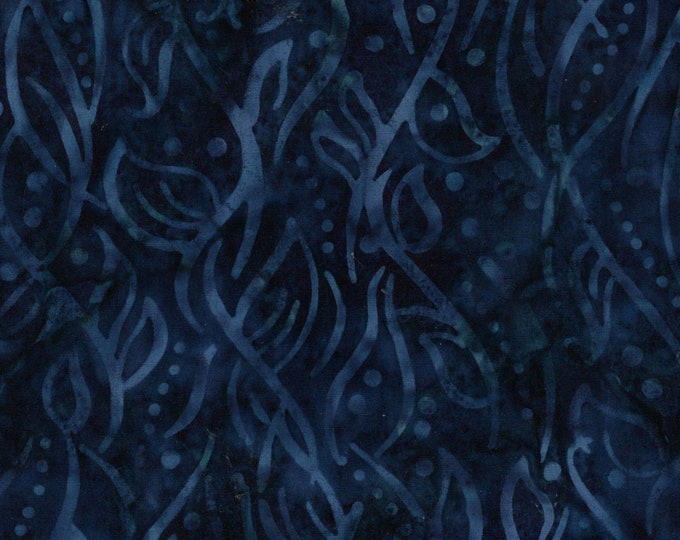 Maywood Java Galaxy Rain Leaves Indigo Navy Blue Batik Fabric B05-008  BTY