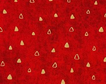 Robert Kaufman Gustav Klimt Red Crimson Gold Triangle Cotton Gilded Fabric 17182-3 BTY