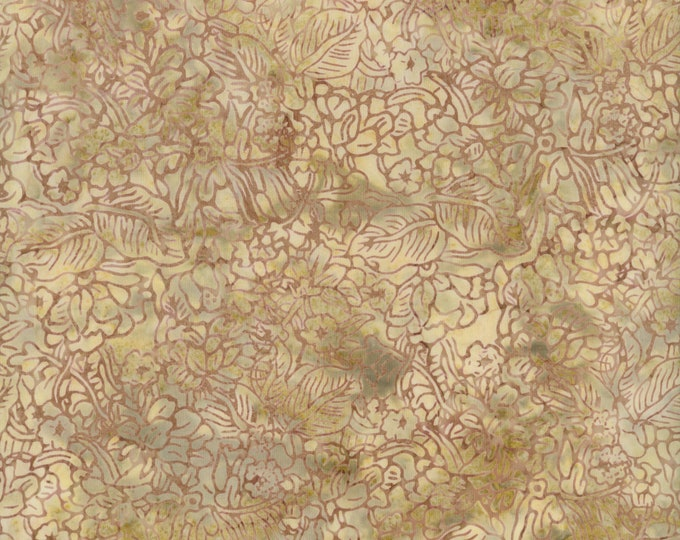 RJR Malam Jinny Beyer Batik Fabric Cream Beige Brown Tan Floral 1763-002 BTY