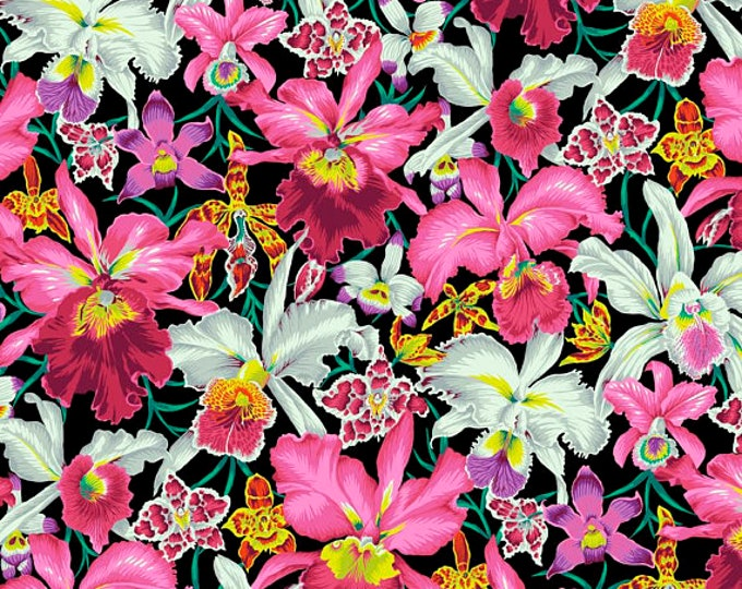 NEW Free Spirit Kaffe Fassett Spring 2018 Black Orchid Pink Yellow PWPJ092.BLACK Fabric BTY