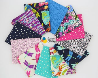 Windham Butterfly Dance Sally Kelly Floral Butterfly Dragonfly Garden Quilt Fabric 12 FQ Fat Quarter Bundle