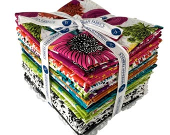 NEW Windham Makers Home Beyond the Reef Natalie Barnes 23 Fat Quarter Set Large Floral Pink Orange Fabric