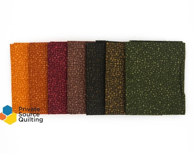 Windham Bedrock Texture Blender Iron Ore Red Brown Green Orange Fabric 7 Fat Quarter Bundle