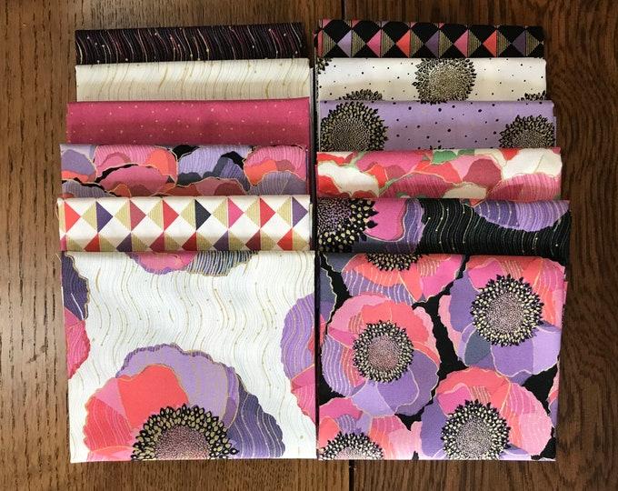 Quilting Treasures QT Fabrics Bellisima Bellissima Floral Poppy Black Pink Purple Gold Fabric 12 Fat Quarter Bundle