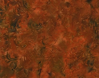 RJR Jinny Beyer Malam Batik Rust Red Orange Green Leaf Leaves Batik 2142-001 Fabric BTY