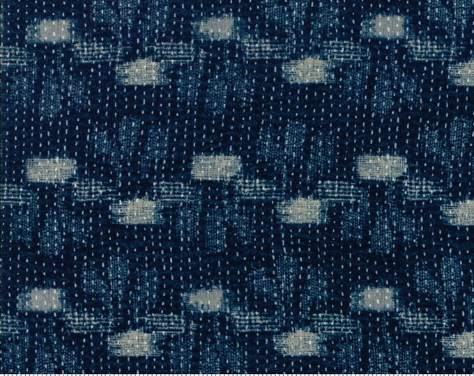 Moda Boro Tanzen Navy Indigo Dark Blue Dash Spot Sachiko Fabric 33401-14 BTY