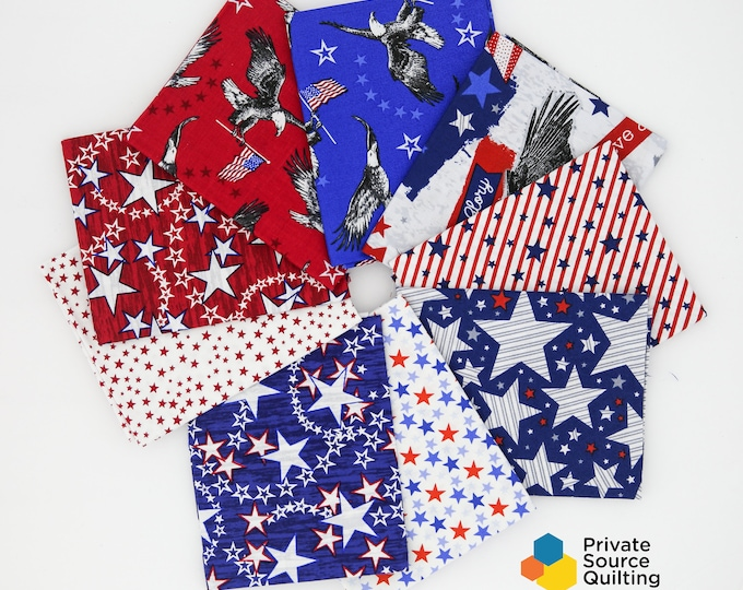Windham Fourth of July American Basics Patriotic QOV American Red White Blue Stars Flag 9 Fat Quarters Fabric