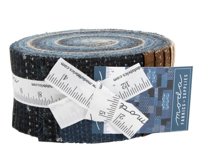 Moda Boro Indigo Navy Blue Brown Beige Tan Jelly Roll 2.5 Fabric Strips