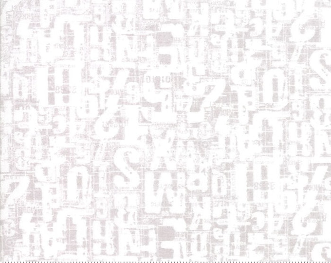 Moda Compositions Number Jumble Grey Gray White Writing Background Fabric 30453-19 BTY