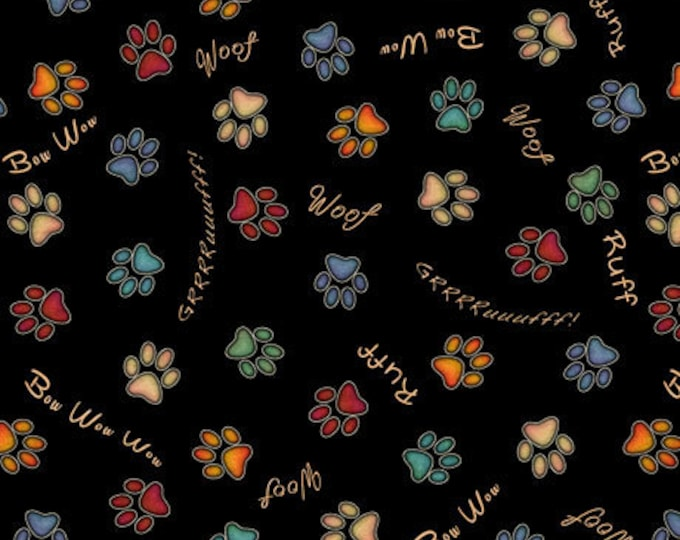 Must Love Dogs Dog Dan Morris QT Fabrics Black Rust Dog Paw Prints Fabric 26939-J