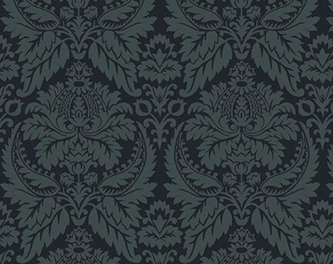 Henry Glass Blush and Blue Kim Diehil 1956 77 Parlor Fancies  Blue Damask Dark blue Quilt quilting Fabric Cotton BTY