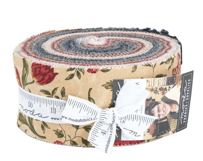 Moda On Meadowlark Pond Kansas Troubles Quilters Red Green Tan Jelly Roll 2.5 Fabric Strips