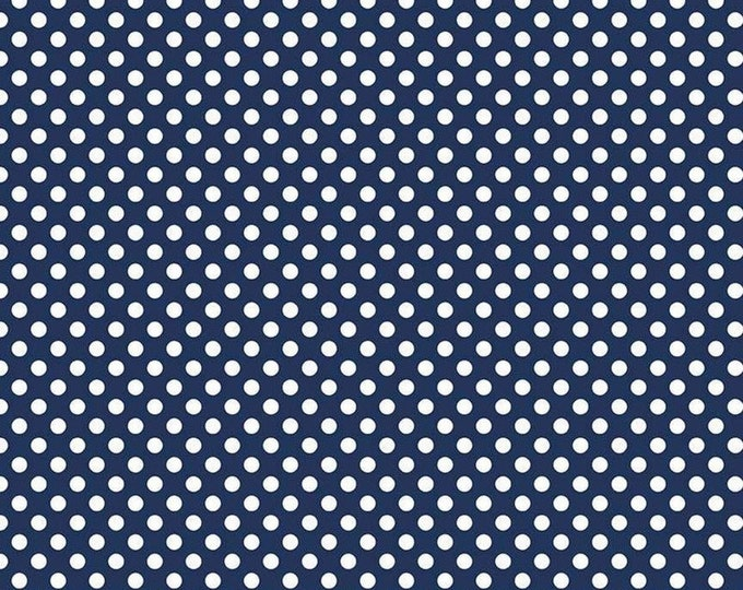 Riley Blake Designs Small Dots Navy C670 Cotton Fabric BTY