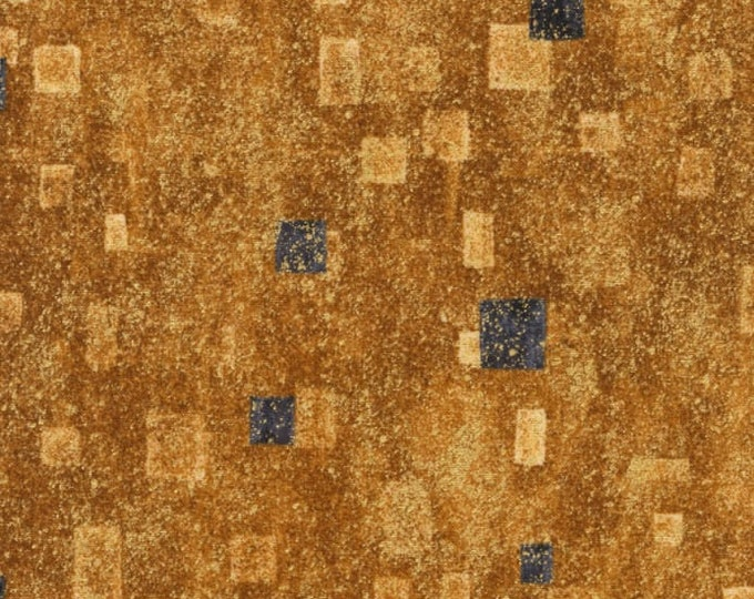 Robert Kaufman Gustav Klimt Grey Gray Black Gold Yellow Cotton Gilded Square Fabric BTY 17181-133