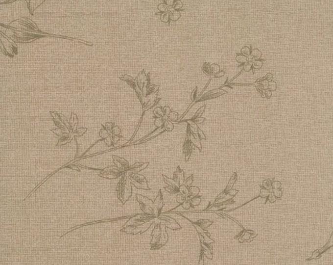 Moda Evening Mist Sentimental Studios Rose Dust Taupe Tonal Floral OOP Fat Quarter 32228-12