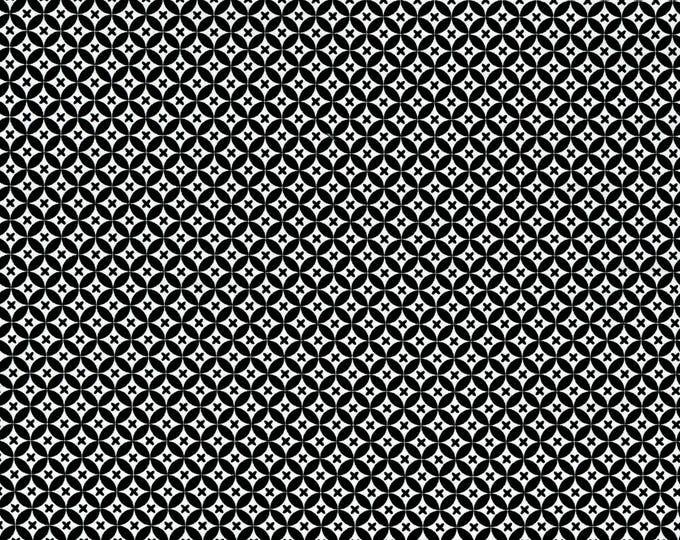 RJR Patrick Lose Odds and Ends Black and White Fabric 2911-002 Black Background White Circles BTY