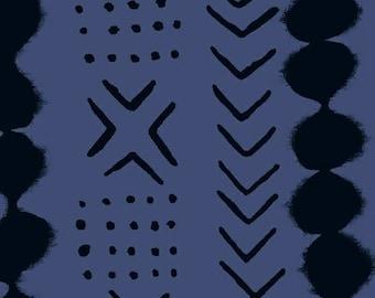 Windham Twilight Navy Blue Black Circle Arrow X Dot 100% Cotton Mud Cloth 41099-2 BTY