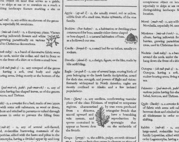 RJR Fine Print Brenda Ratliff Dictionary White Black Low Volume Fabric BTHY 2876-001
