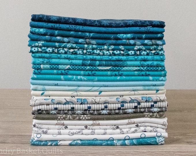 NEW Andover Edyta Sitar Laundry Basket Quilts LBQ Royal Blue Navy Beige 24 Fat Quarter Bundle Fabric