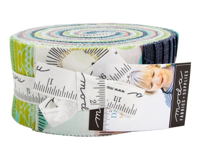 NEW Moda Zen Chic Day in Paris White Green Teal Blue Gray Pink Jelly Roll 2.5 Fabric Strips