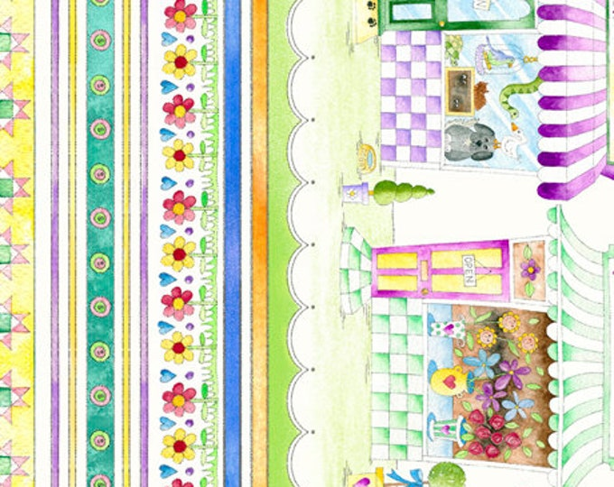 Quilting Treasures Shop Hop Store Front Kids Yellow Purple Border Fabric 26923-X BTY