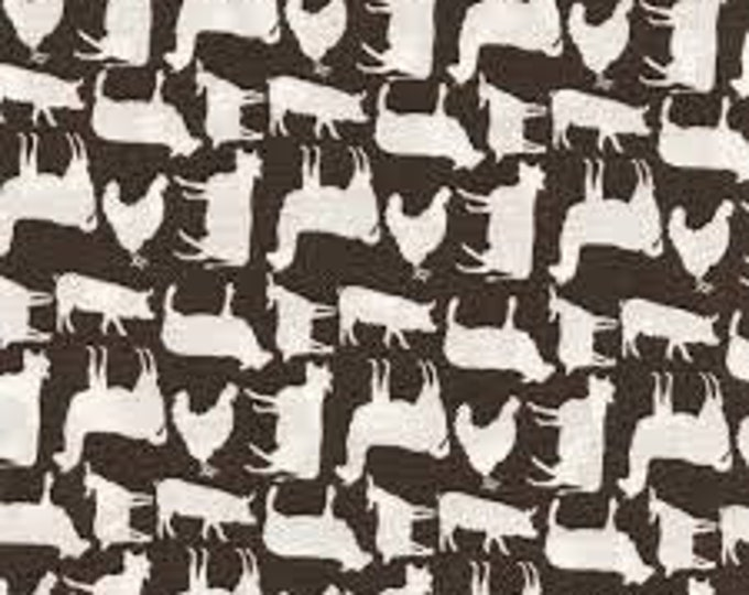 Prairie Sisters by Poppie Cotton PS19018 Gray Barnyard Animals Cotton Fabric BTY