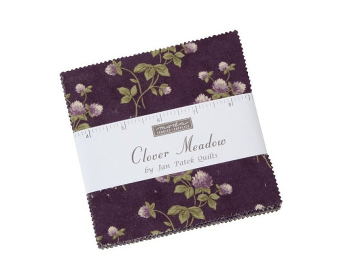 Moda Clover Meadow  Moda Frabics Pre-Cut 42  5 x 5  Charm  Pack  Quilt Squares Fabric By Jan Patek Quilt
