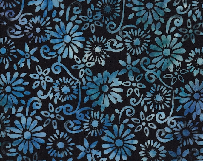 Anthology Art Inspired Jacqueline's Favorites Black Blue Leafy Daisy Floral Fabric 14045 BTY
