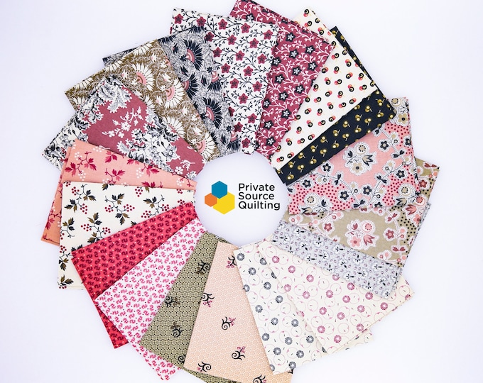 18 Civil War Pink and Brown Bubble Gum and Chocolate Reproduction Quilt Fabric Fat Quarter Bundle Free Ship