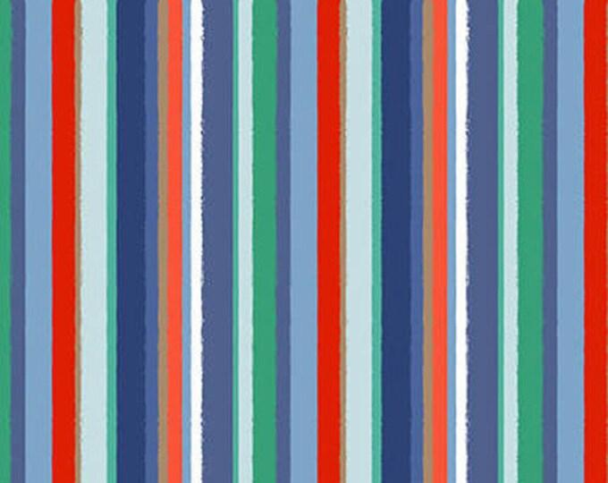 Studio E Fabrics Coastal Dreams Beach Seashell Beach house White Blue Aqua Orange Red Stripe Fabric BTY 4862-17